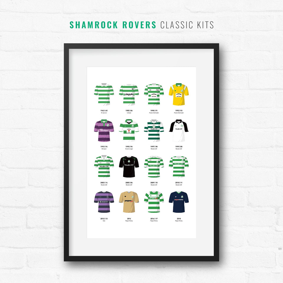 Shamrock Rovers Classic Kits Football Team Print - Good Team On Paper