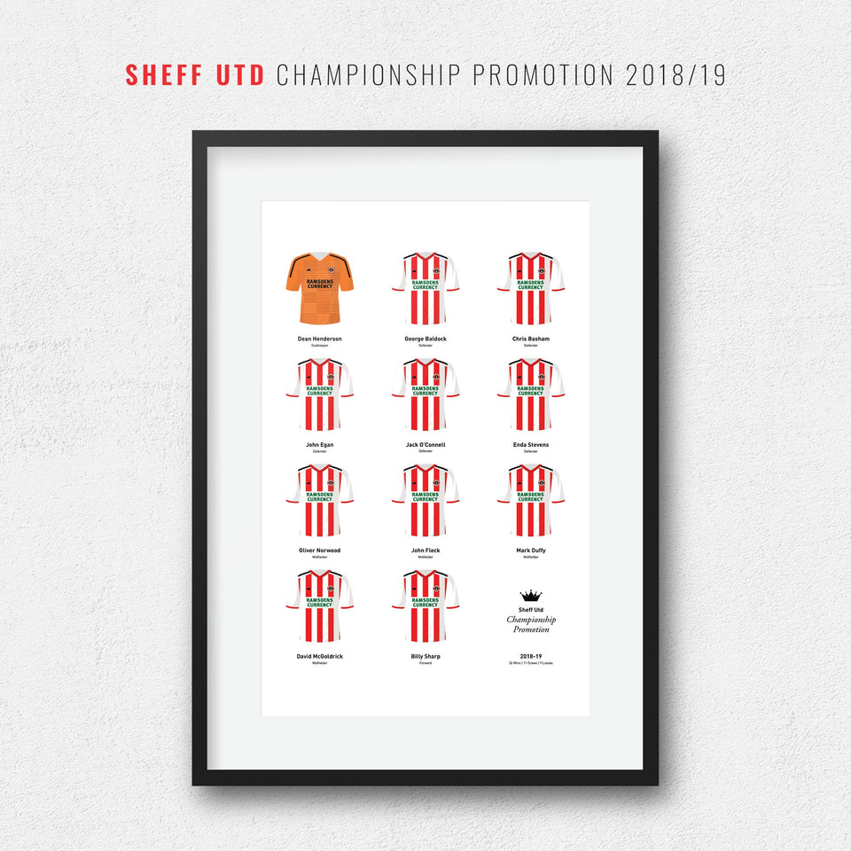 Sheff Utd 2019 Championship Promotion Football Team Print