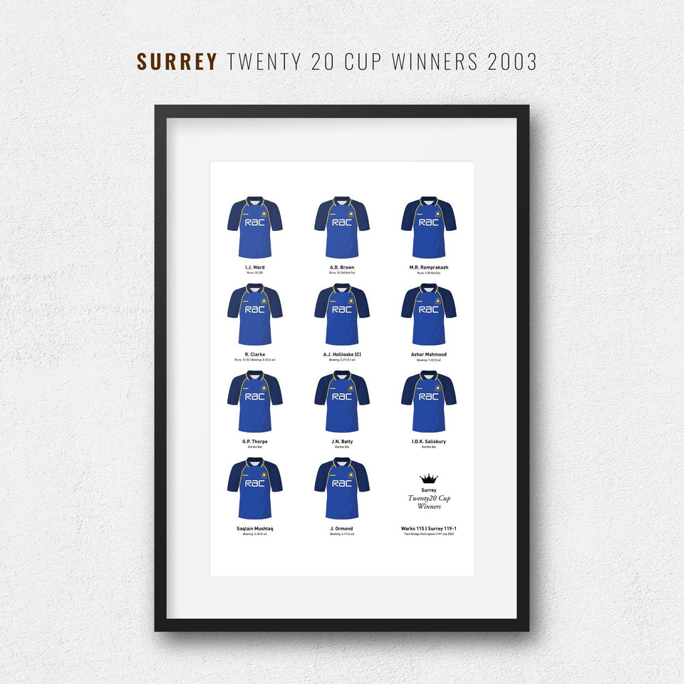 Surrey Cricket 2003 Twenty20 Cup Winners Team Print