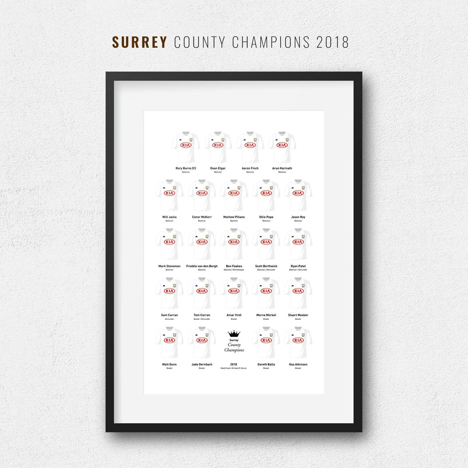 Surrey Cricket 2018 County Champions Team Print