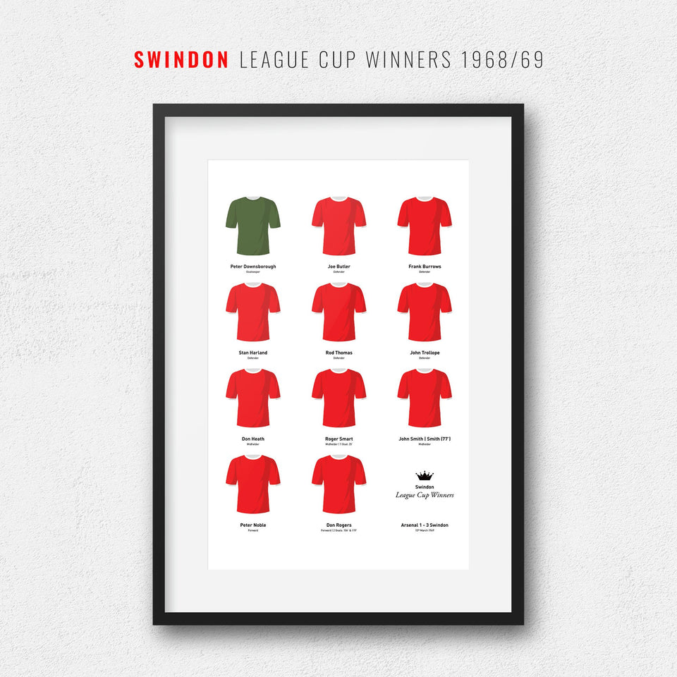 Swindon 1969 League Cup Winners Football Team Print