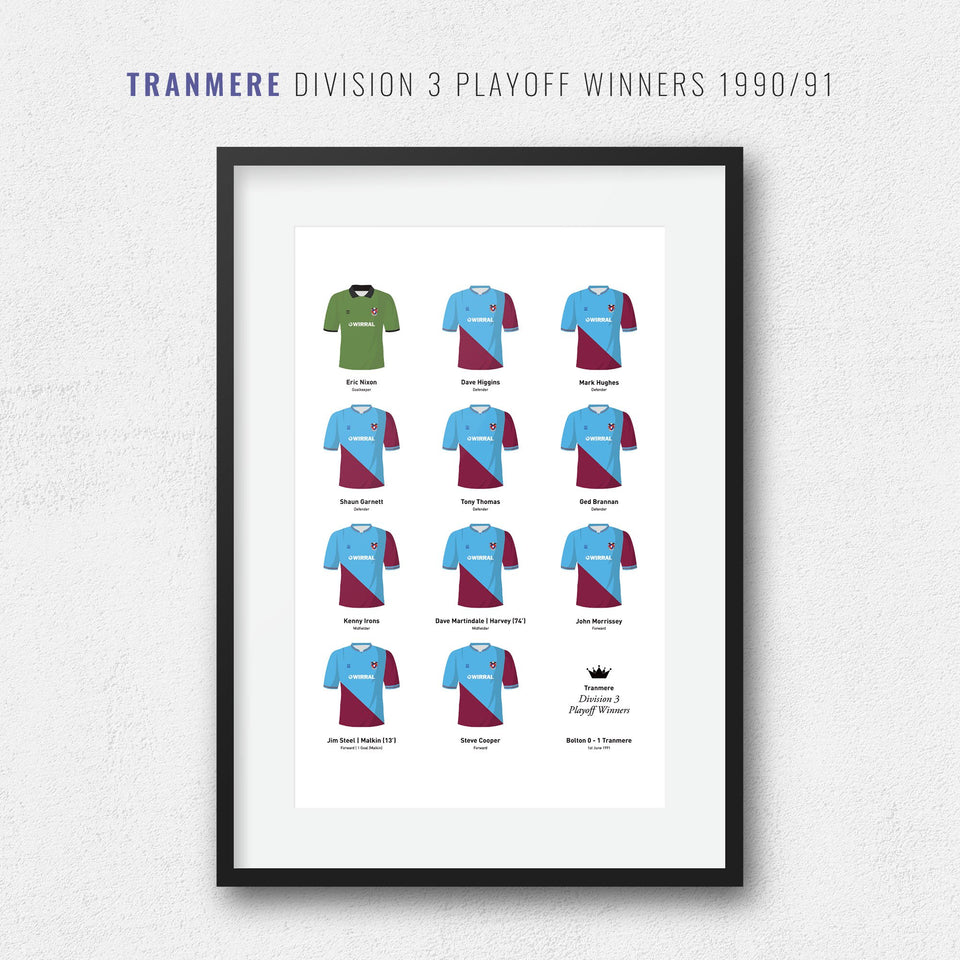Tranmere 1991 Division 3 Playoff Winners Football Team Print