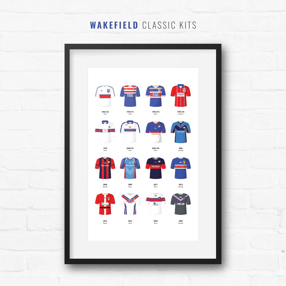 Wakefield Classic Kits Rugby League Team Print - Good Team On Paper
