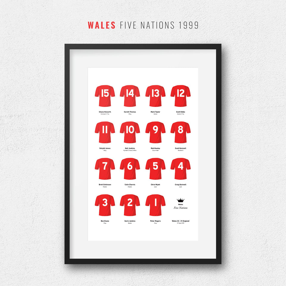 Wales Rugby Union 1999 Five Nations Team Print - Good Team On Paper