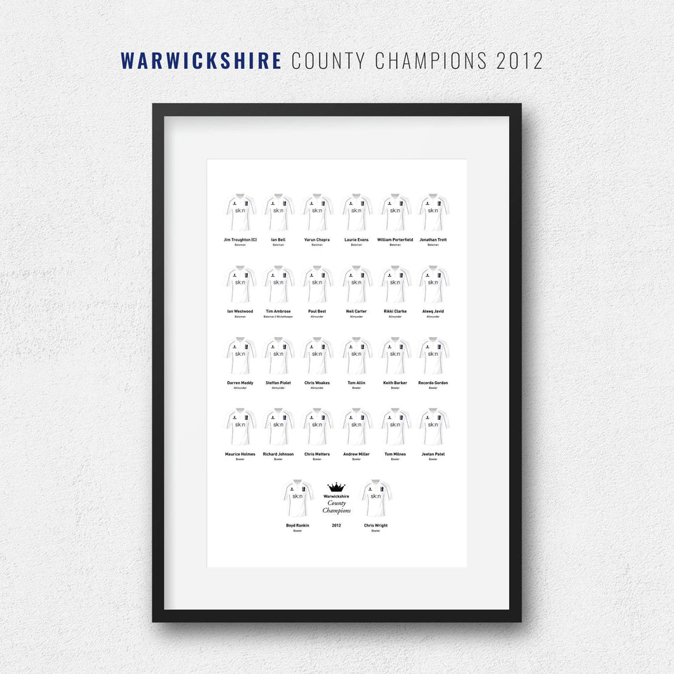 Warwickshire Cricket 2012 County Champions Team Print
