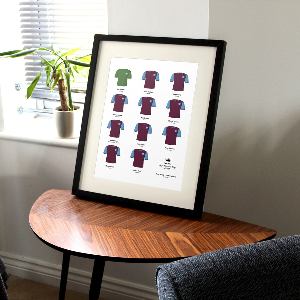 West Ham 1965 Cup Winners Cup Final Football Team Print - Good Team On Paper