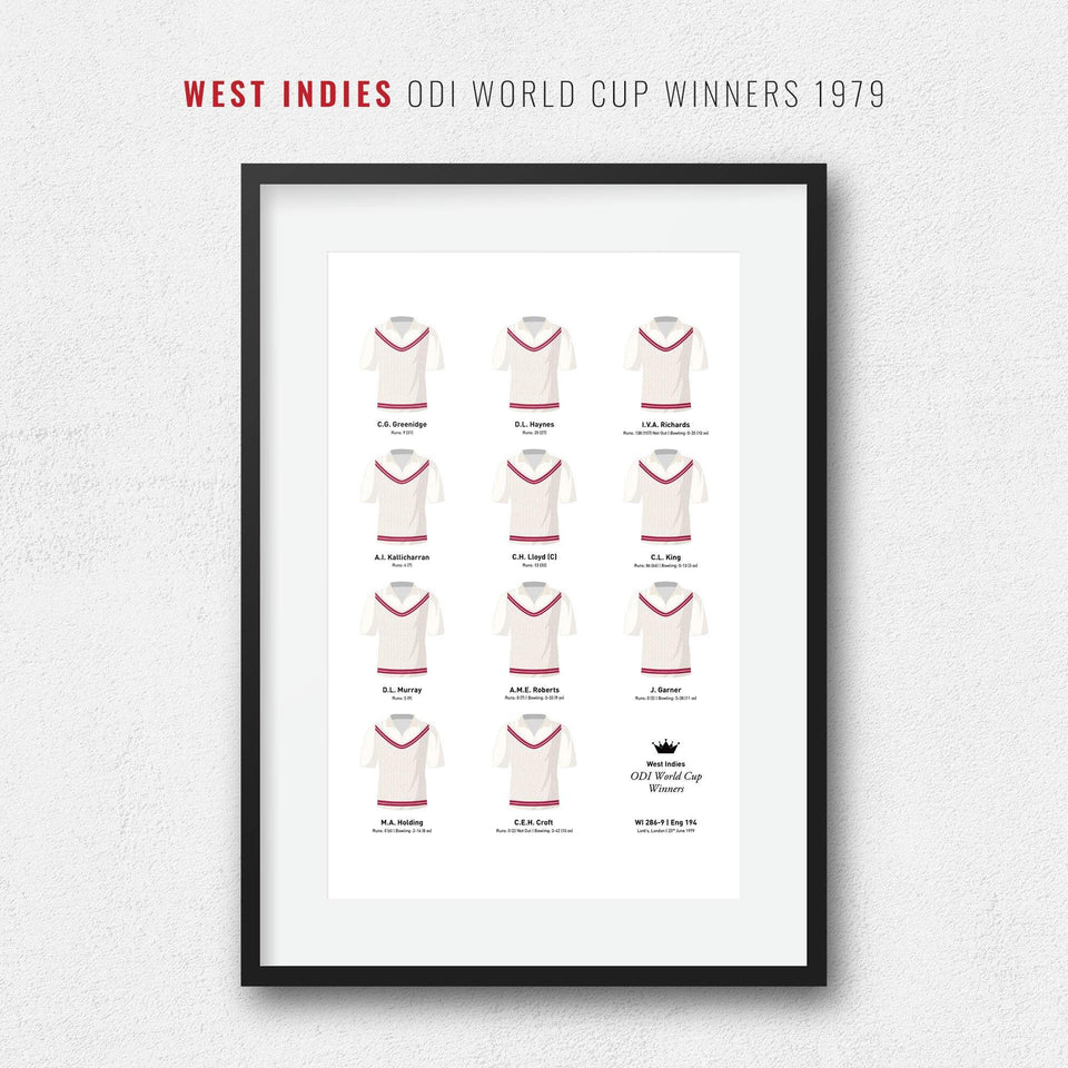 West Indies Cricket 1979 World Cup Winners Team Print