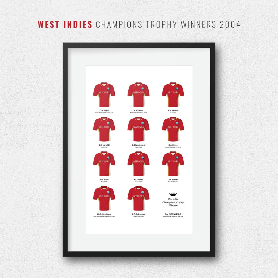 West Indies Cricket 2004 Champions Trophy Winners Team Print