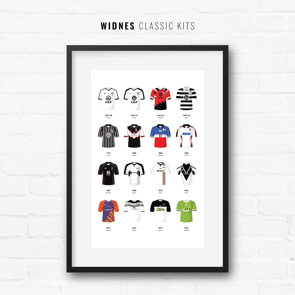 Widnes Classic Kits Rugby League Team Print - Good Team On Paper