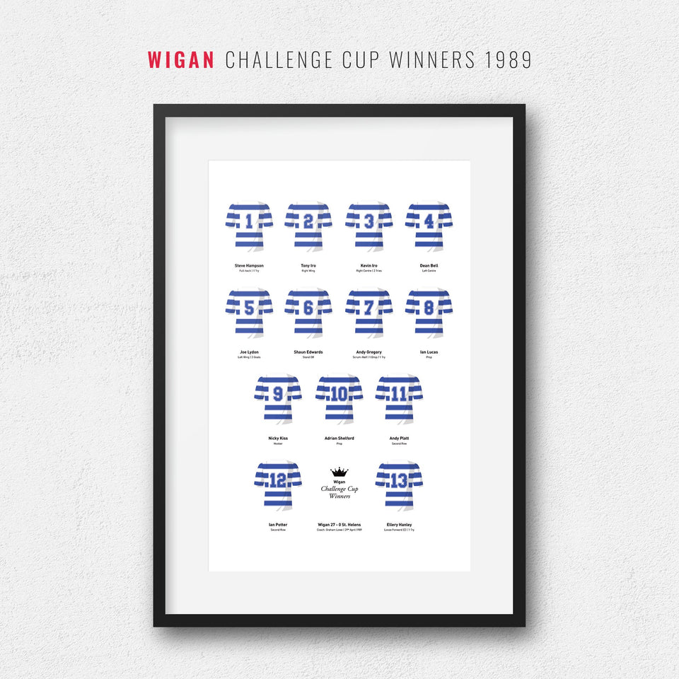 Wigan Rugby League 1989 Challenge Cup Winners Team Print - Good Team On Paper