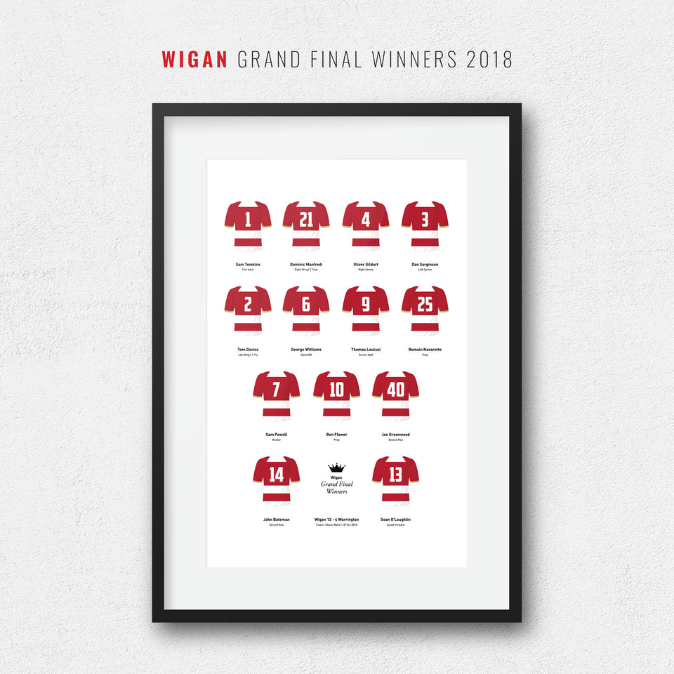 Wigan Rugby League 2018 Grand Final Winners Team Print