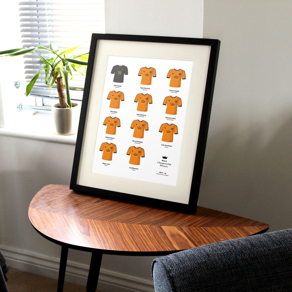 Wolves 2018 Championship Winners Football Team Print - Good Team On Paper