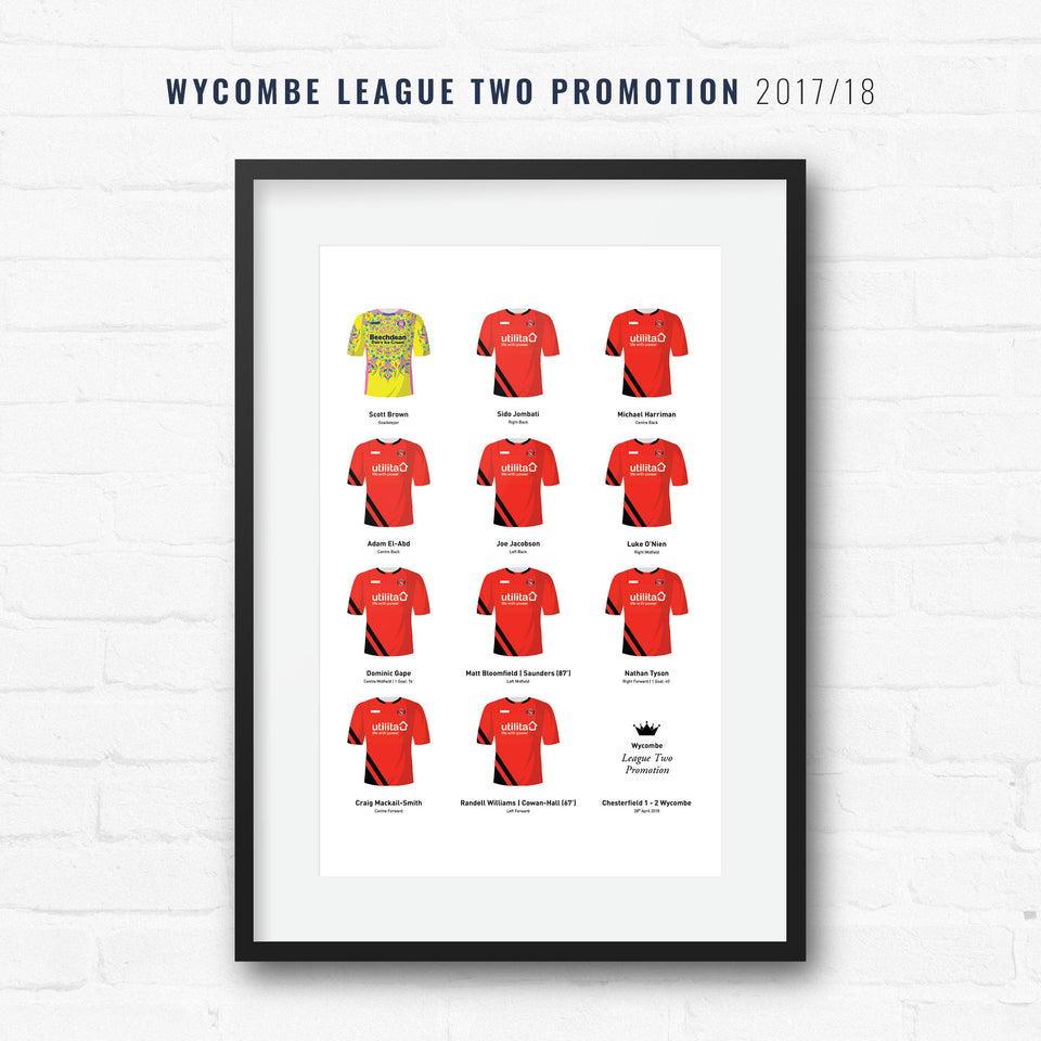 Wycombe 2018 League 2 Promotion Winners Football Team Print - Good Team On Paper