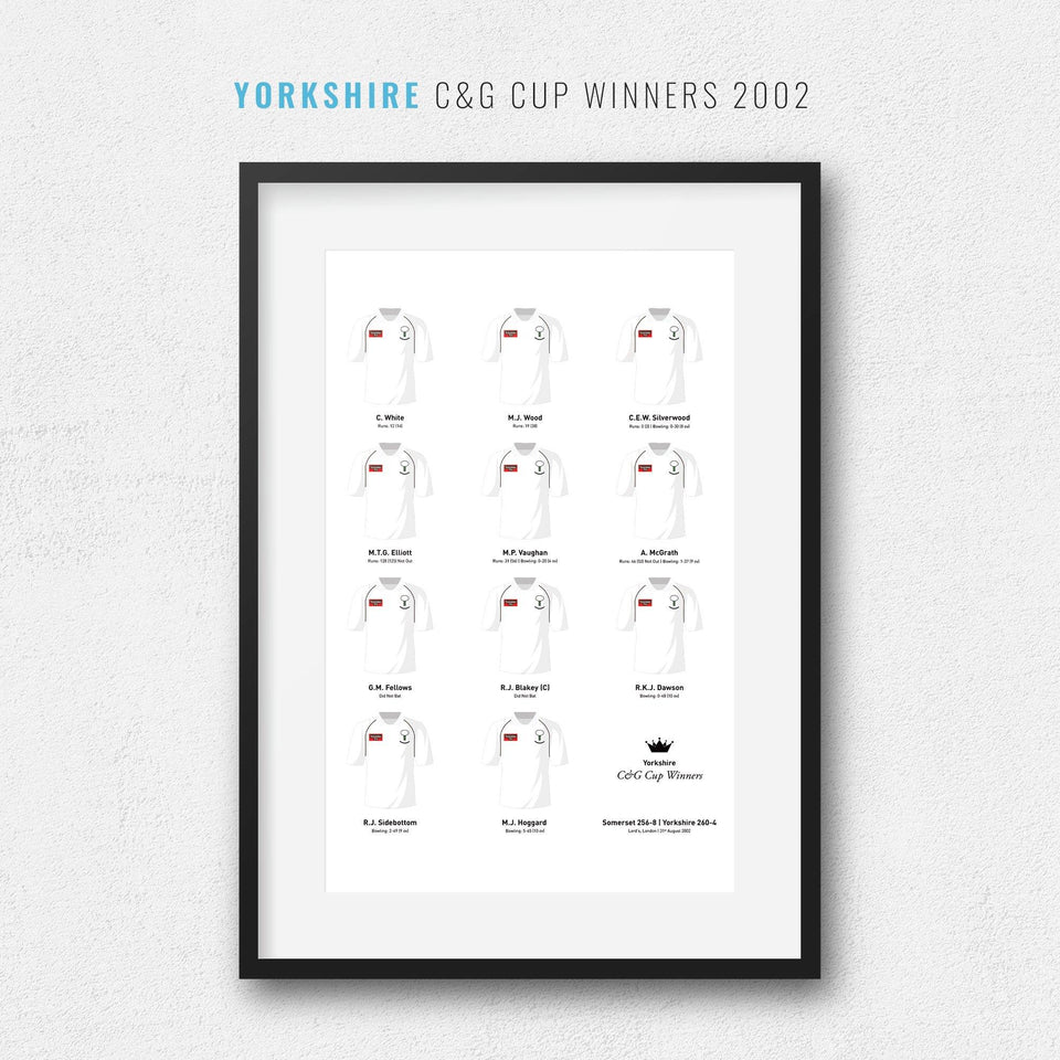 Yorkshire Cricket 2002 C&G Cup Winners Team Print