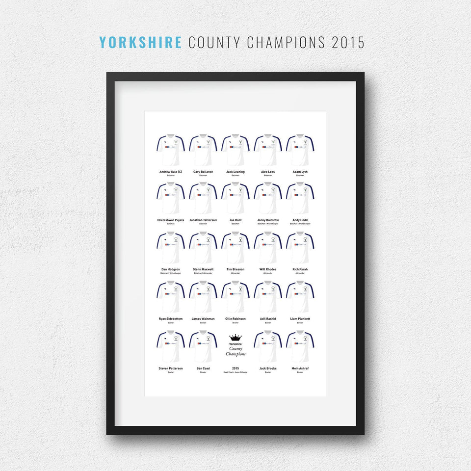 Yorkshire Cricket 2015 County Champions Team Print