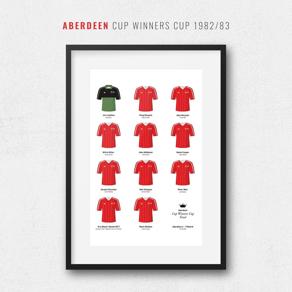 Aberdeen 1983 Cup Winners Cup Football Team Print - Good Team On Paper
