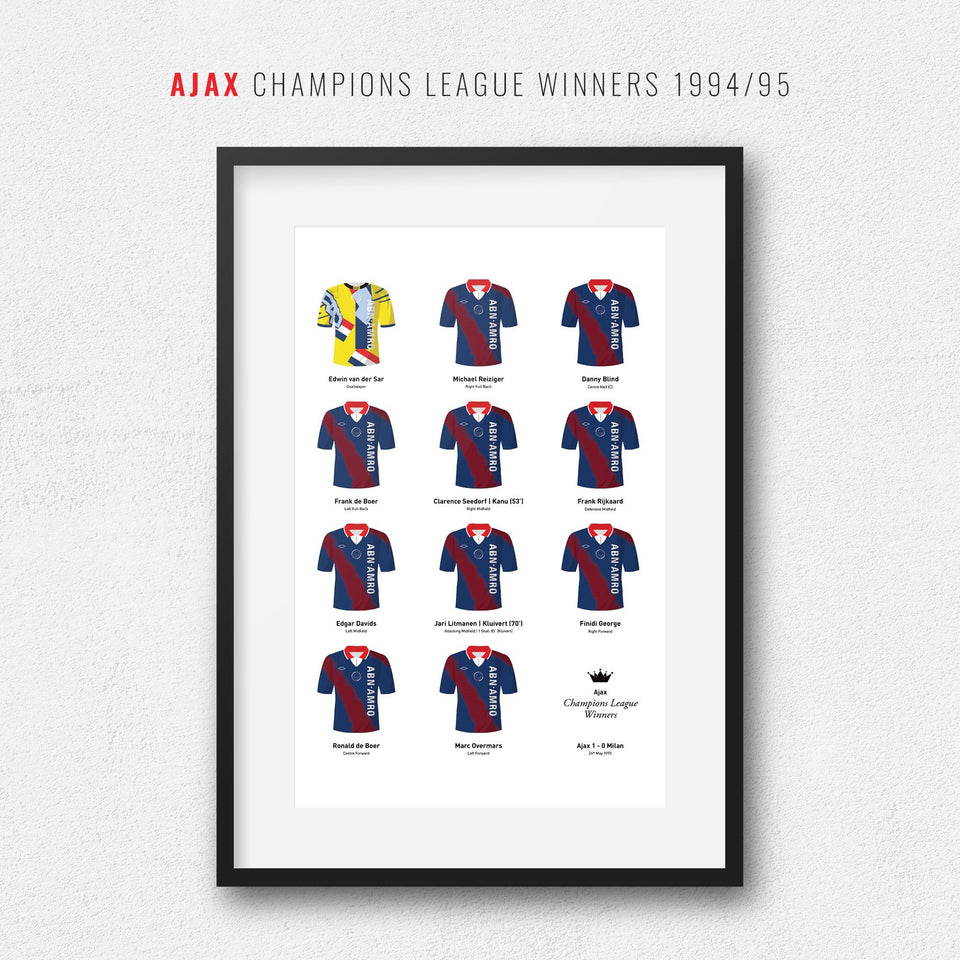 Ajax 1995 Champions League Winners Football Team Print-Good Team On Paper