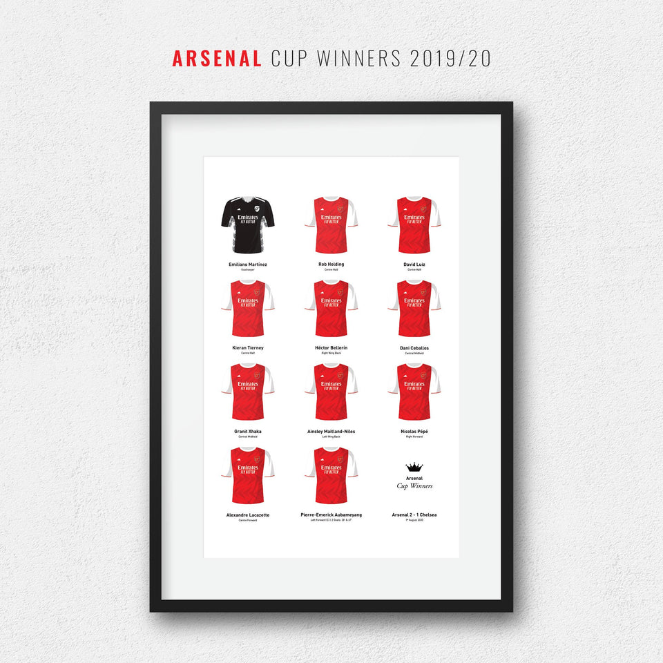 Arsenal 2020 Cup Winners Football Team Print - Good Team On Paper