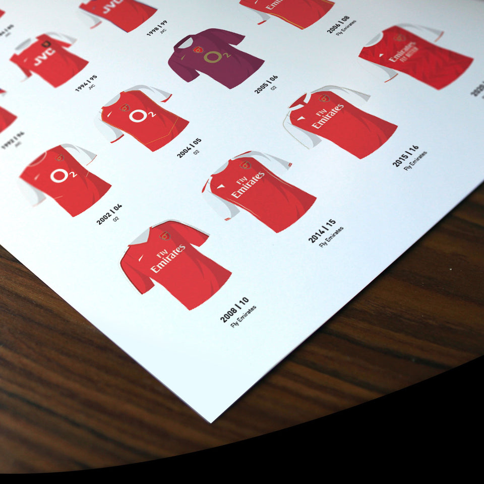 Arsenal Classic Kits Football Team Print - Good Team On Paper
