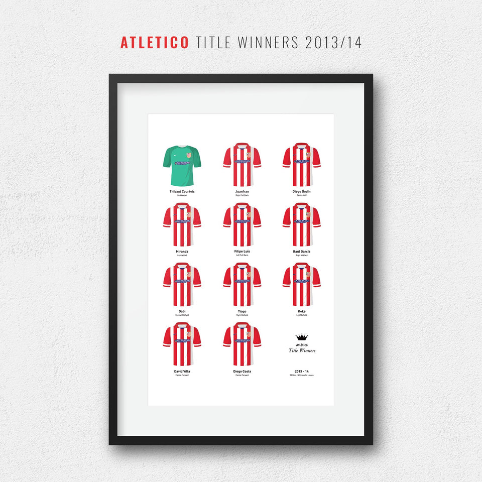 Atletico 2014 Title Winners Football Team Print - Good Team On Paper