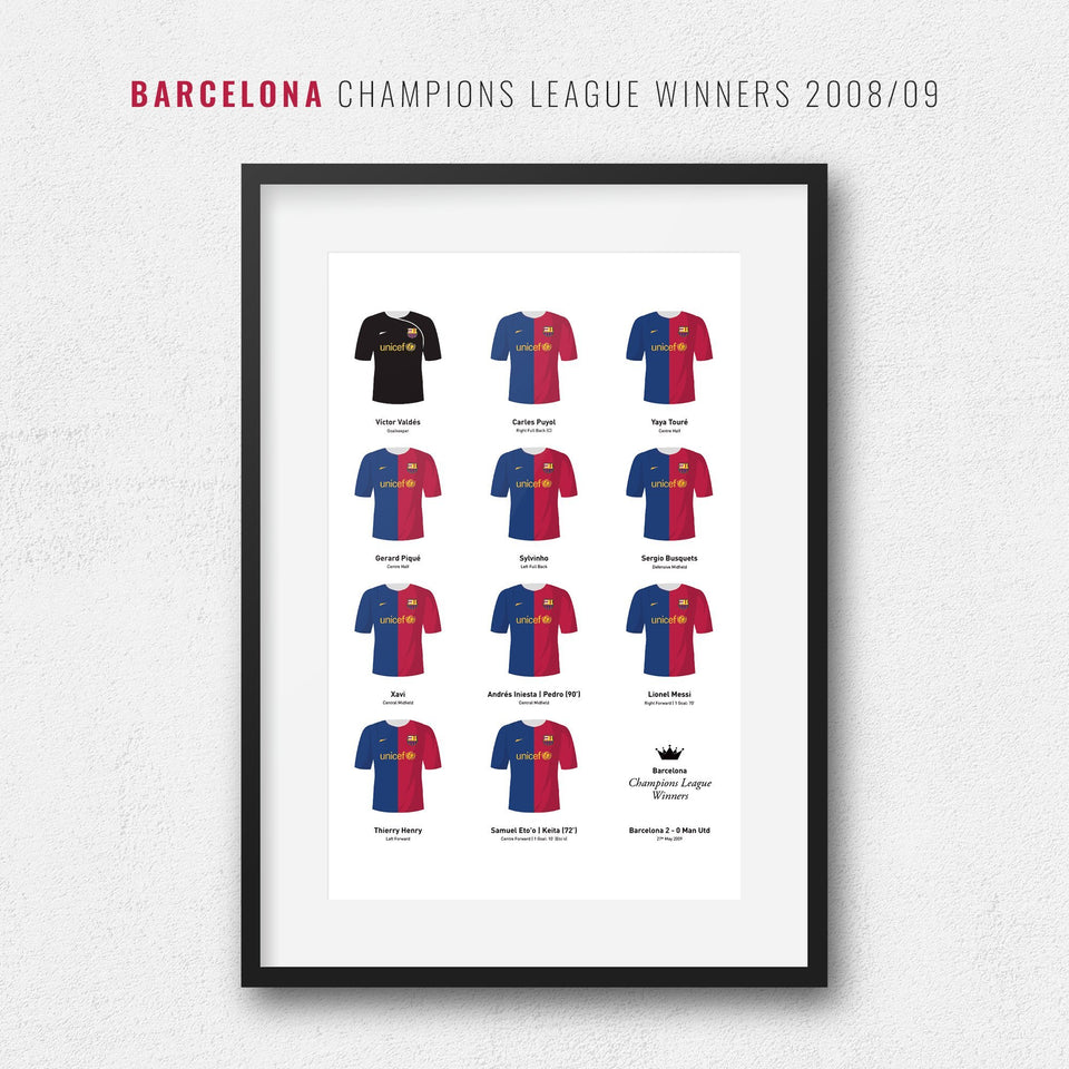 Barcelona 2009 Champions League Winners Football Team Print-Good Team On Paper