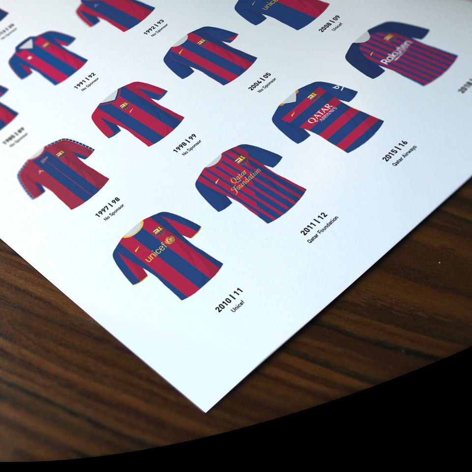 Barcelona Classic Kits Football Team Print