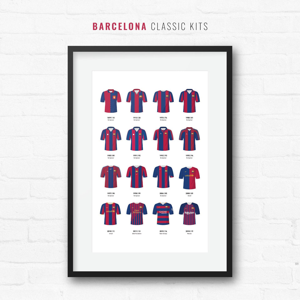 Barcelona Classic Kits Football Team Print-Good Team On Paper