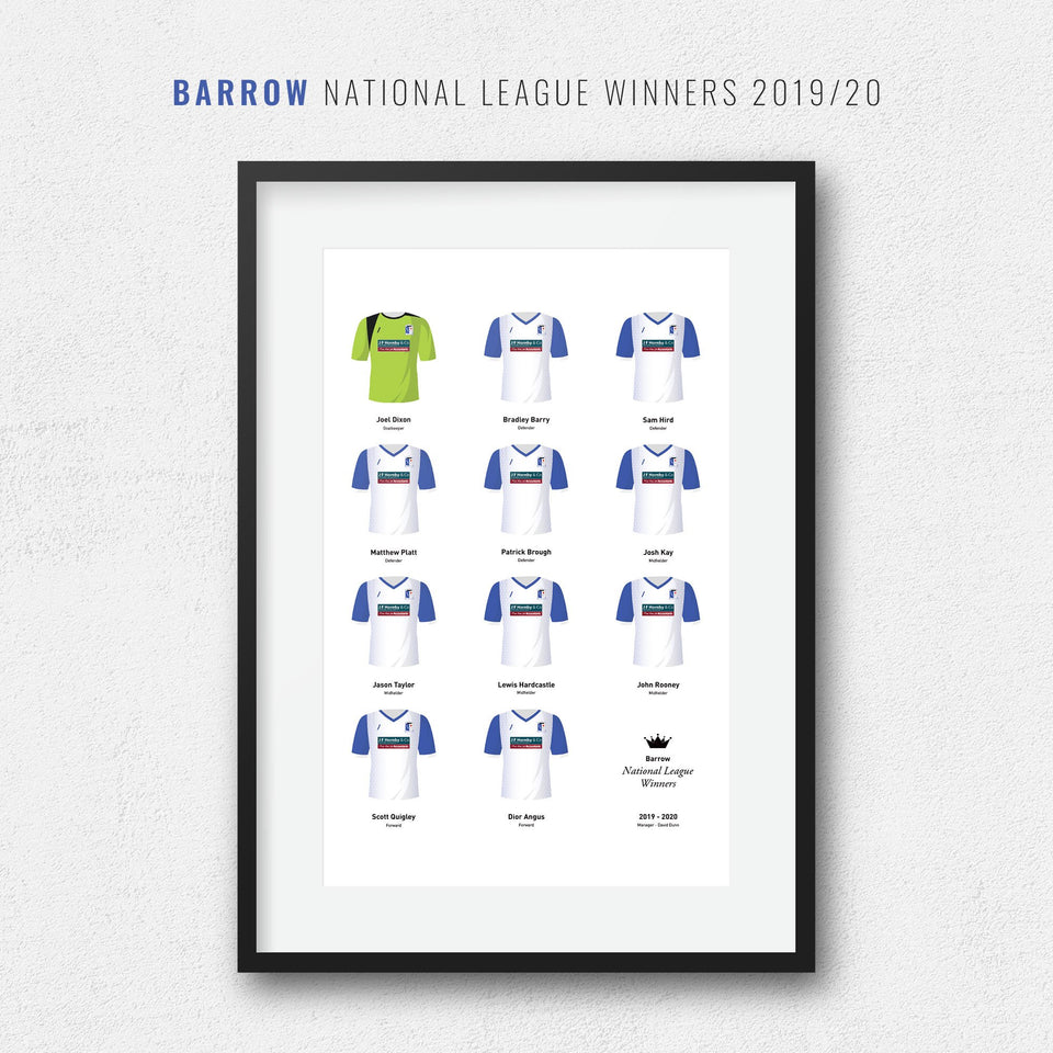 Barrow 2020 National League Winners Football Team Print - Good Team On Paper