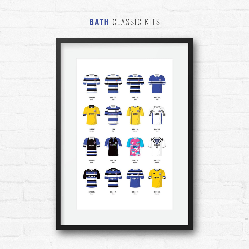 Bath Classic Kits Rugby Union Team Print