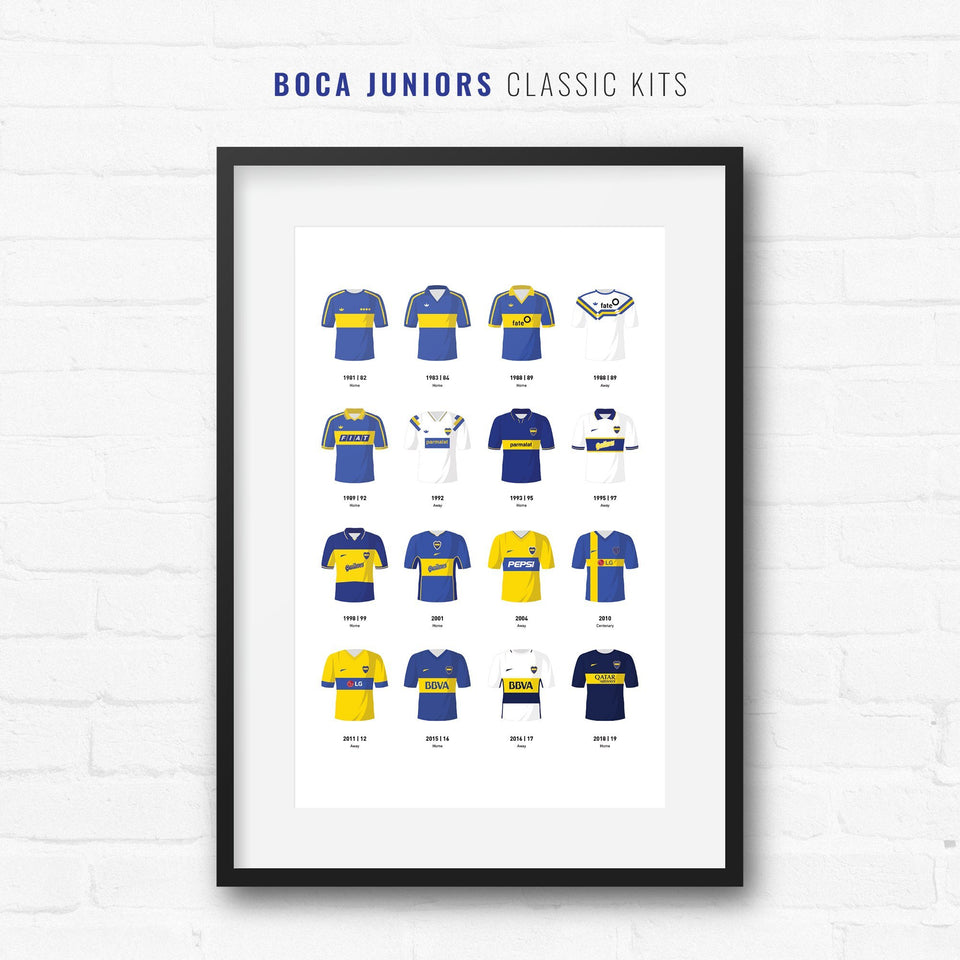 Boca Classic Kits Football Team Print - Good Team On Paper