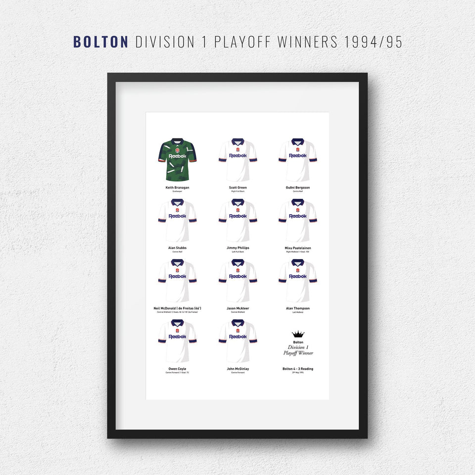 Bolton 1995 Division 1 Playoff Final Winners Football Team Print - Good Team On Paper