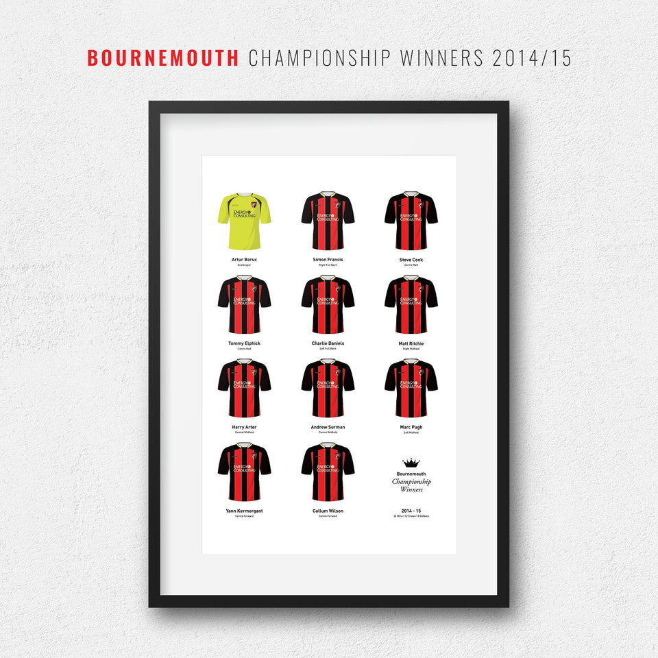 Bournemouth 2015 Championship Winners Football Team Print-Good Team On Paper