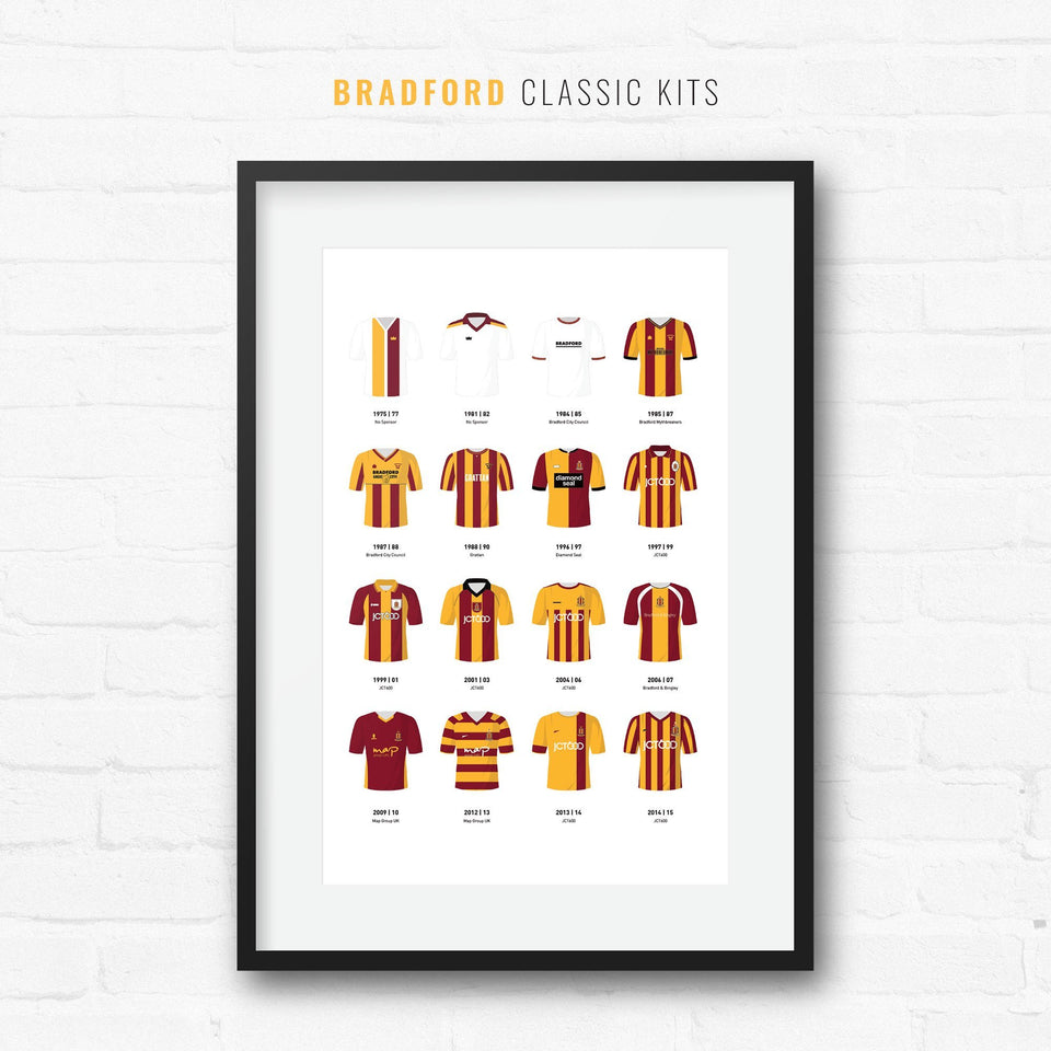 Bradford Classic Kits Football Team Print-Good Team On Paper