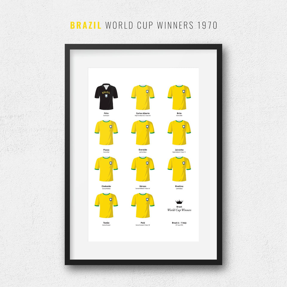 Brazil 1970 World Cup Winners Football Team Print - Good Team On Paper