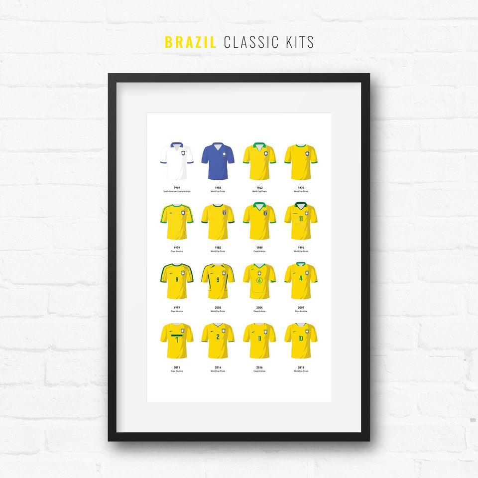 Brazil Classic Kits Football Team Print - Good Team On Paper