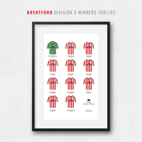 Brentford 1992 Division 3 Winners Football Team Print-Good Team On Paper
