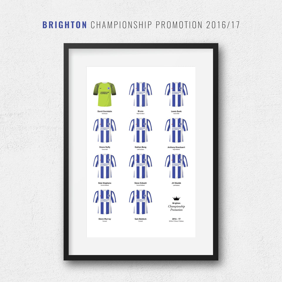 Brighton 2017 Championship Promotion Winners Football Team Print-Good Team On Paper