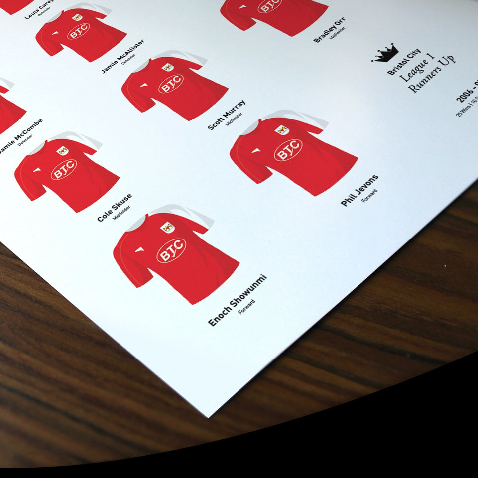 Bristol City 2007 League 1 Promotion Football Team Print-Good Team On Paper