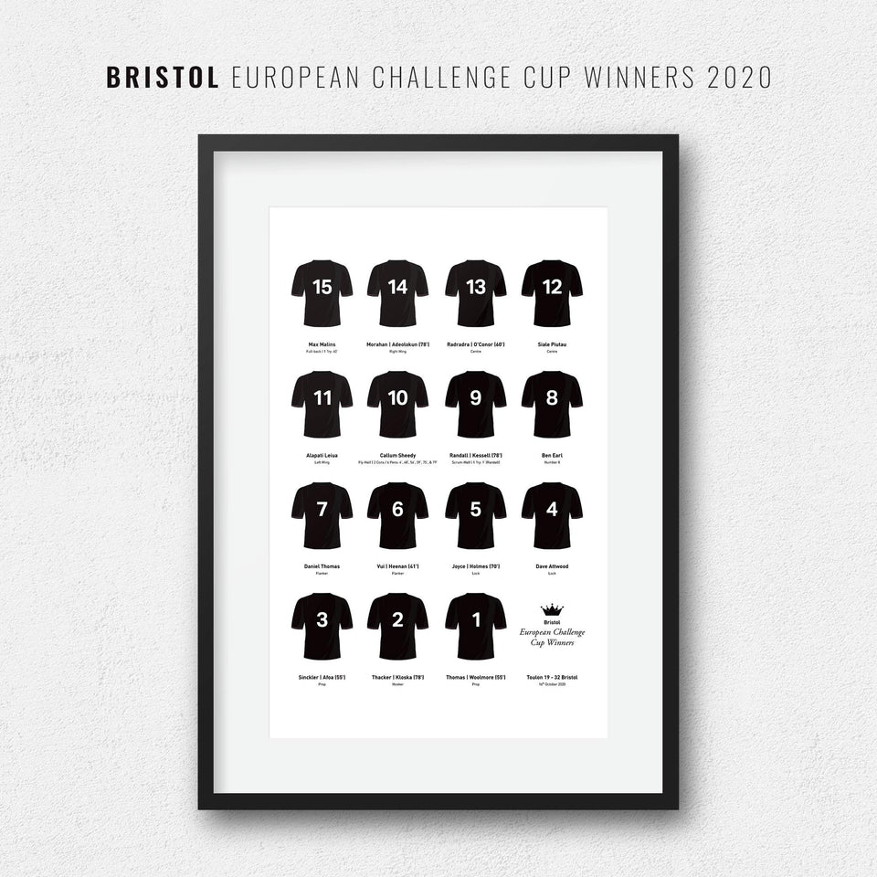Bristol Rugby Union 2020 European Challenge Cup Winners Team Print