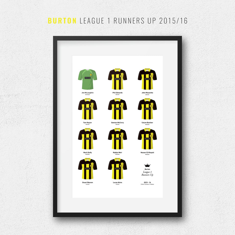 Burton 2016 League 1 Promotion Football Team Print - Good Team On Paper