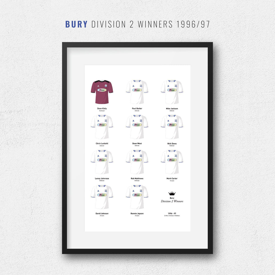 Bury 1997 Division 2 Winners Football Team Print-Good Team On Paper