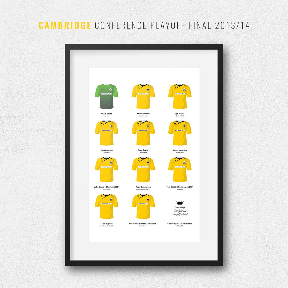 Cambridge 2014 Conference Playoff Winners Football Team Print