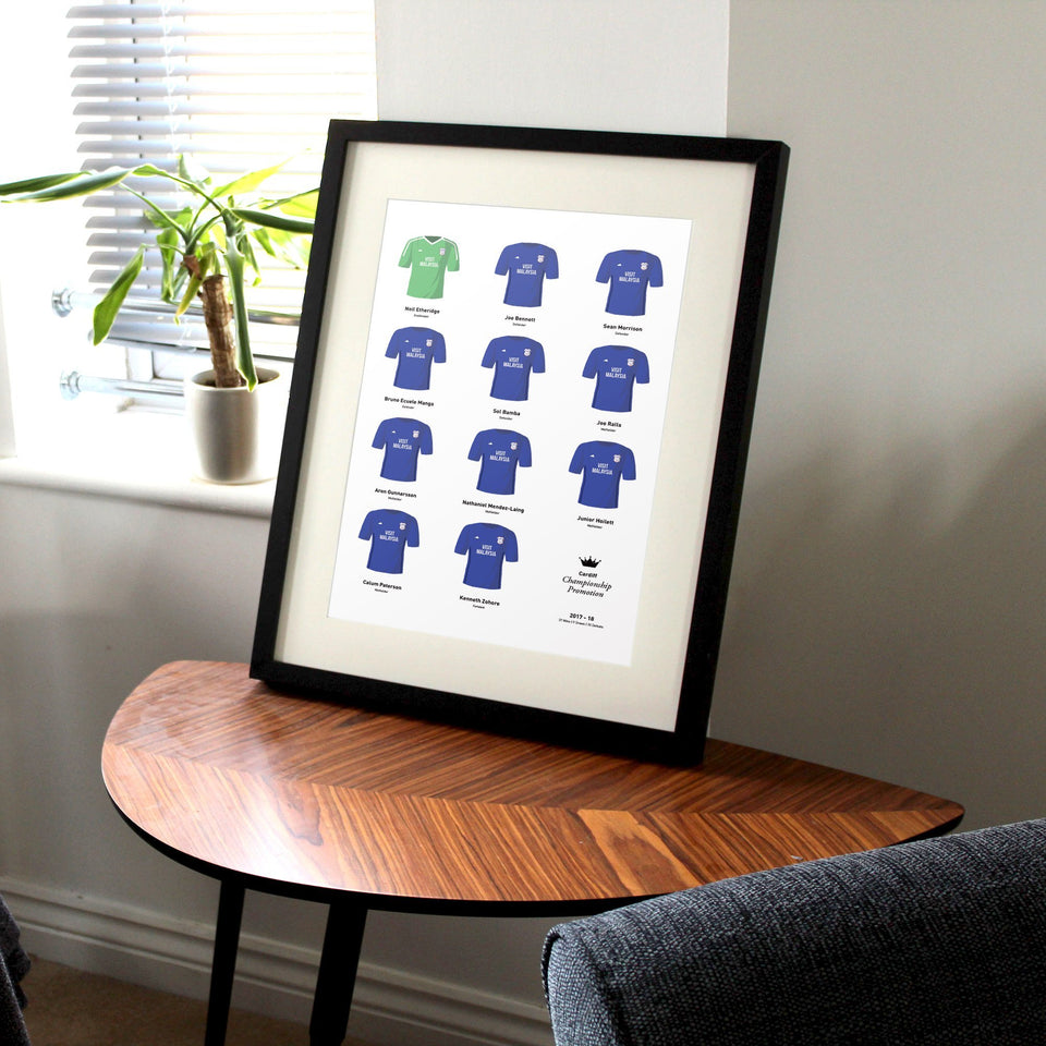 Cardiff 2018 Championship Promotion Winners Football Team Print - Good Team On Paper