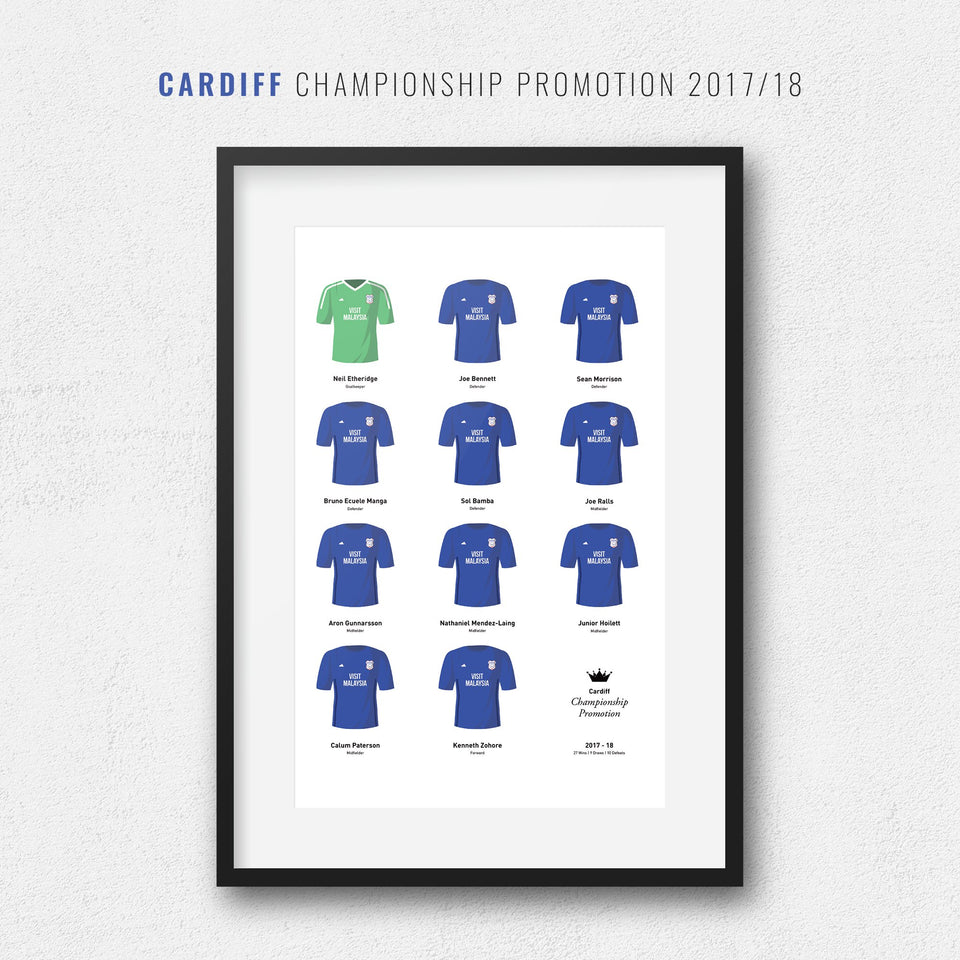 Cardiff 2018 Championship Promotion Winners Football Team Print-Good Team On Paper