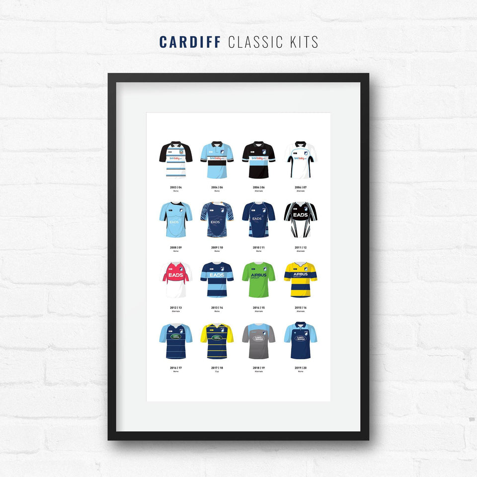 Cardiff Classic Kits Rugby Union Team Print