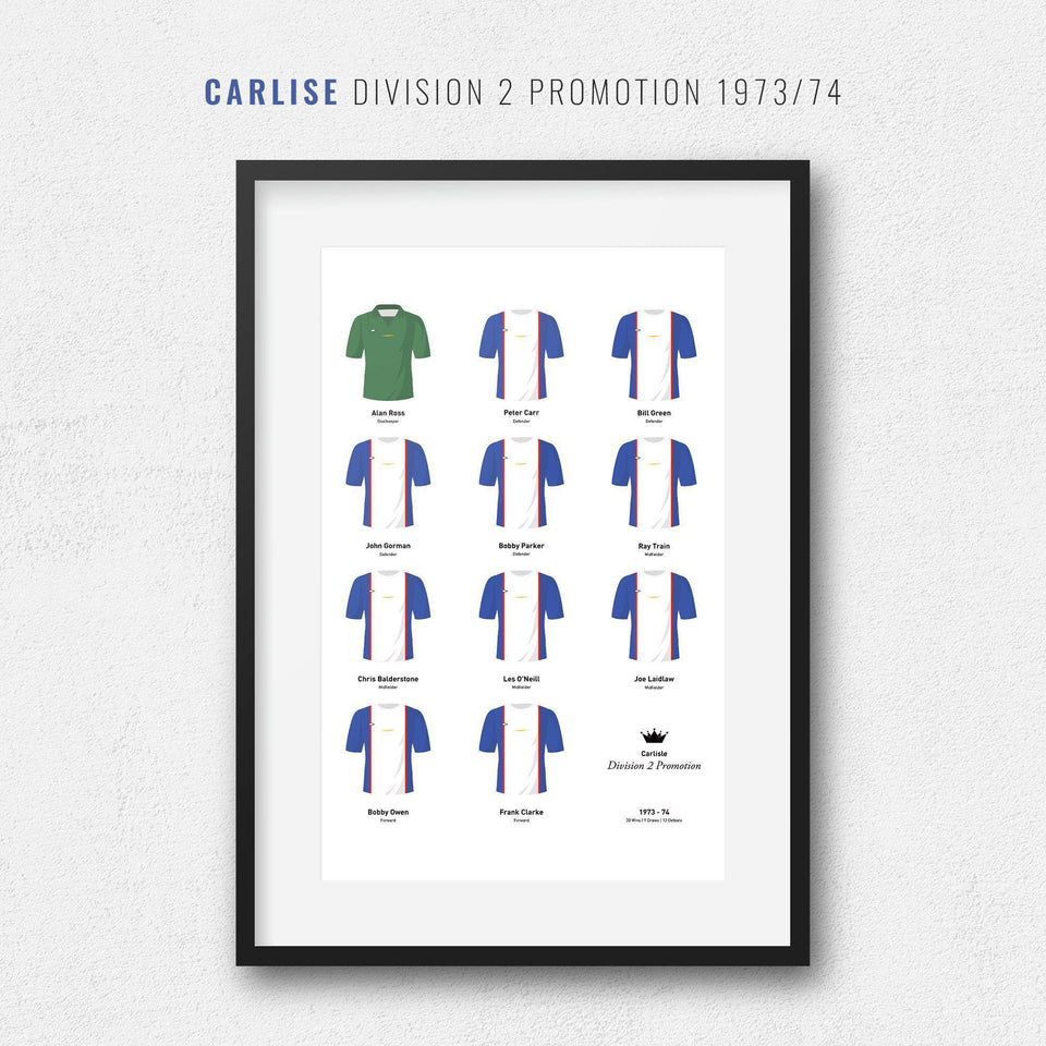 Carlisle 1974 Division 2 Promotion Winners Football Team Print-Good Team On Paper