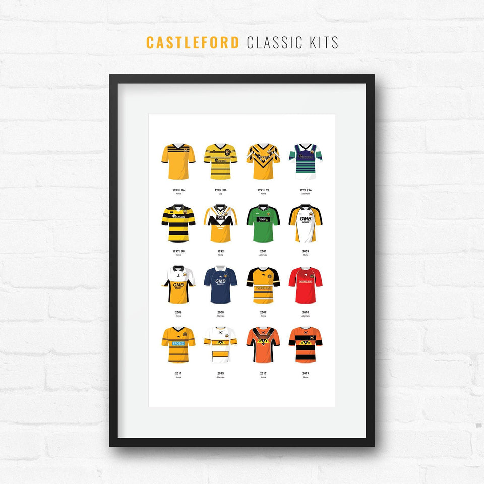 Castleford Classic Kits Rugby League Team Print