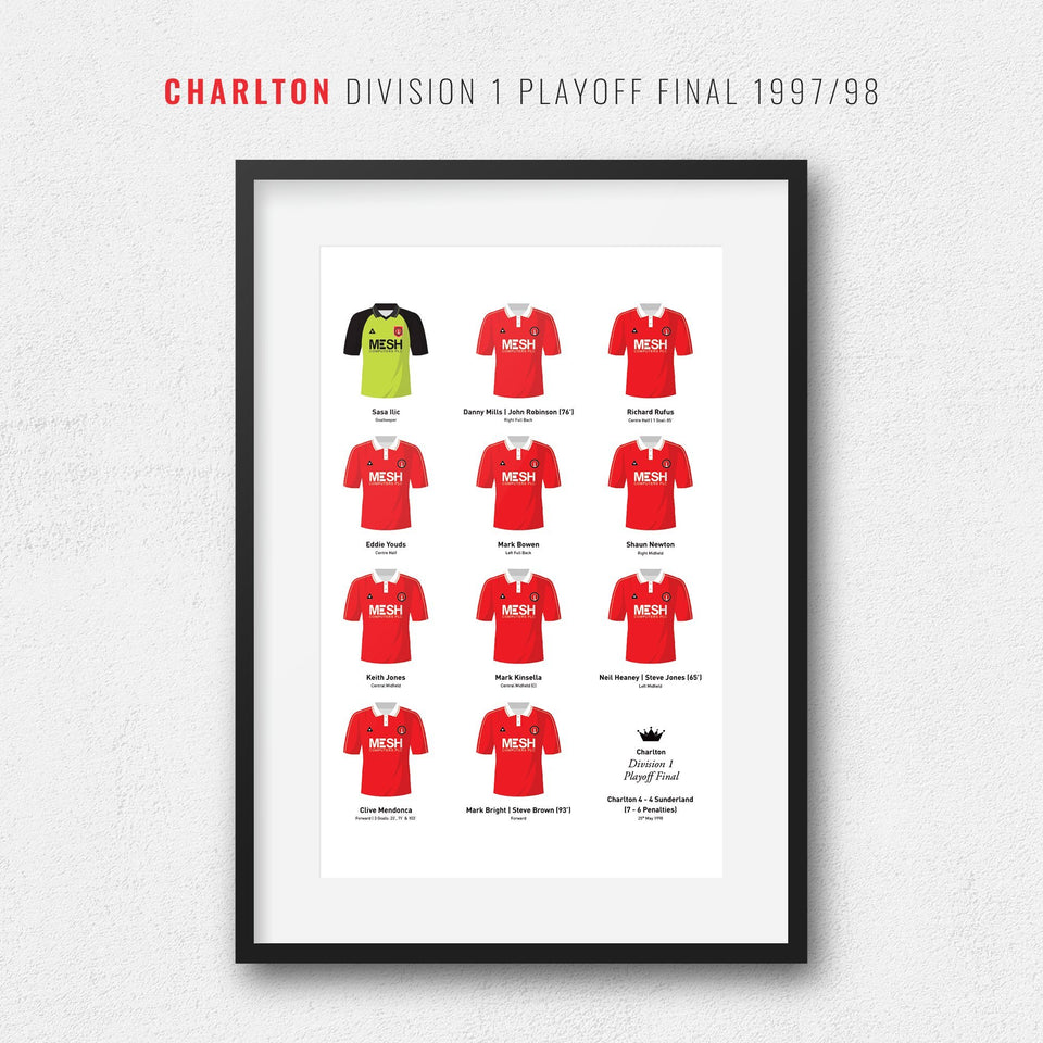 Charlton 1998 Division 1 Playoff Final Winners Football Team Print - Good Team On Paper