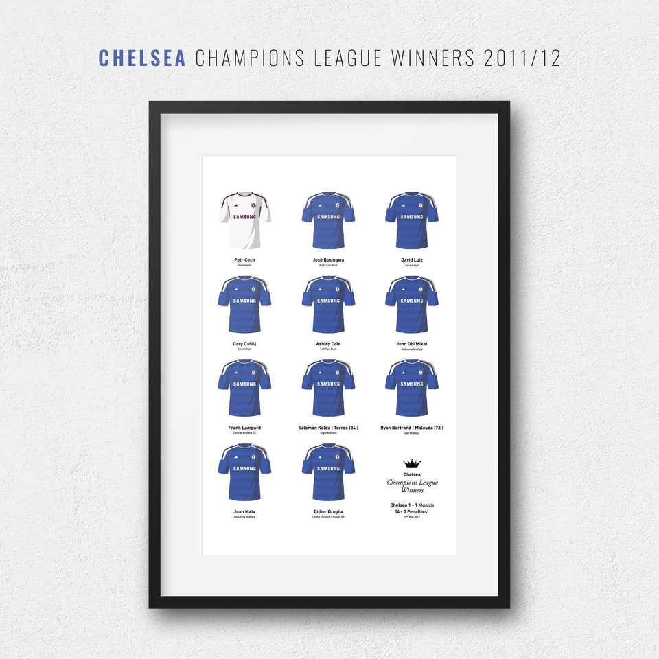 Chelsea 2012 Champions League Winners Football Team Print-Good Team On Paper