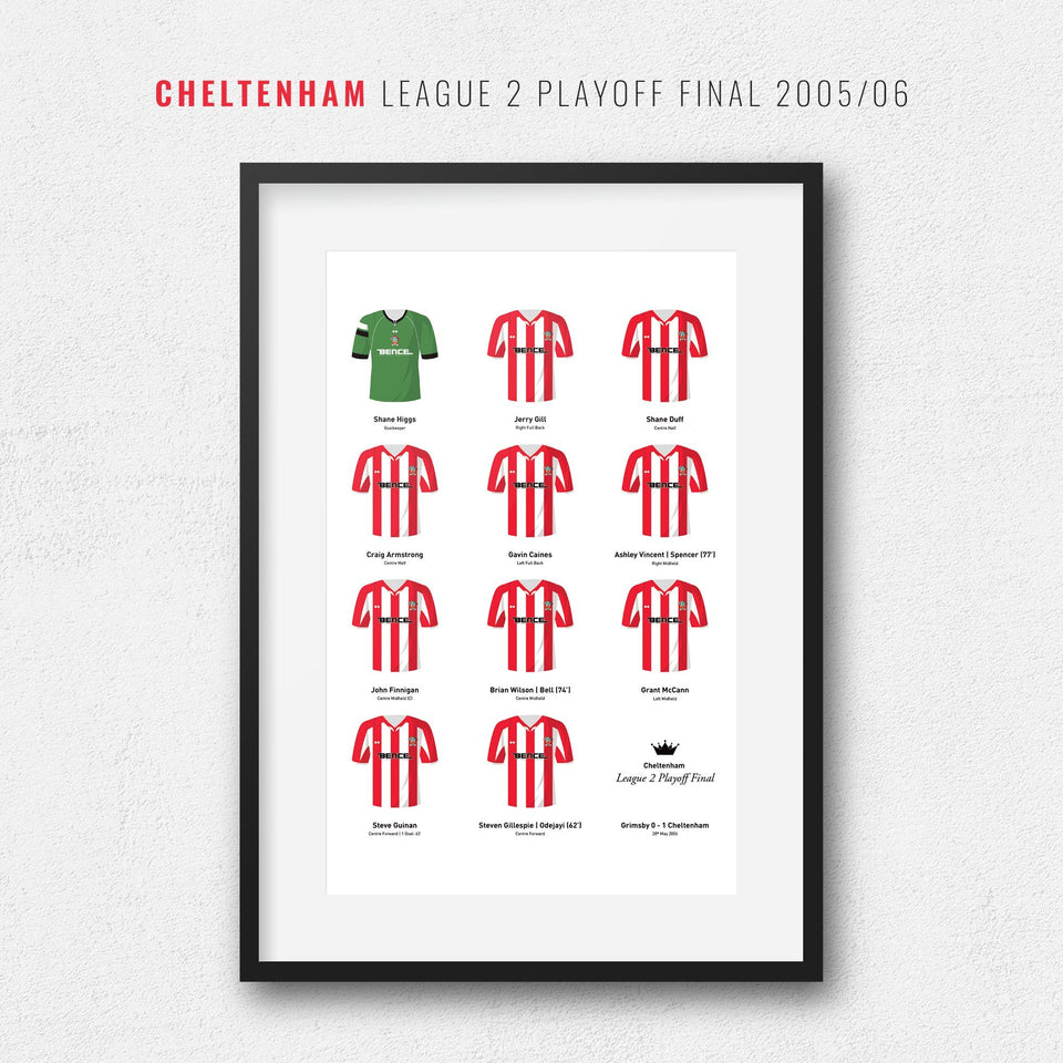 Cheltenham 2006 League 2 Playoff Winners Football Team Print